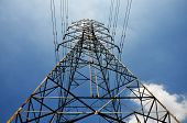 foto of utility pole  - electricity high voltage pole and blue sky - JPG
