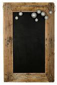 foto of wooden pallet  - Chalkboard christmas restaurant menu board reclaimed pallet wooden frame and hanging xmas balls isolated on white with copy space - JPG