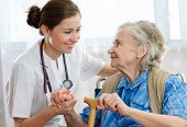 pic of crutch  - Senior woman with her home caregiver - JPG