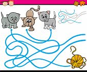 pic of maze  - Cartoon Illustration of Education Path or Maze Game for Preschool Children with Cats and Yarn - JPG