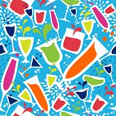 stock photo of cocktail menu  - Diversity colorful cocktail glasses seamless pattern background - JPG