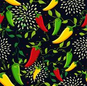 pic of mexican food  - Mexican food seamless pattern background illustration with colorful chili pepper - JPG
