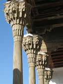 stock photo of woodcarving  - Wooden colonnade in mosque of Bukhara - JPG