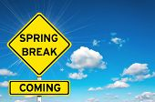 image of post-teen  - Spring break sign yellow road sign with clouds and sky in background - JPG