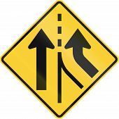 pic of merge  - United States road warning sign  - JPG