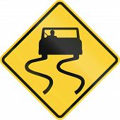 image of slippery-roads  - US road warning sign - JPG