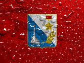 picture of sevastopol  - a flag of Sevastopol with rain drops - JPG