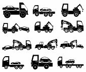 stock photo of towing  - Tow vehicle vector icons set in black - JPG