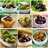 foto of kalamata olives  - collage of different varieties of olives  - JPG