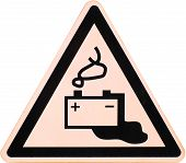 picture of leak  - Battery warning sign depicting a leaking battery - JPG