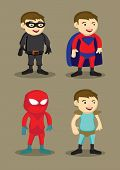 Постер, плакат: Super Hero Character Costumes Vector Illustration