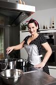 pic of pinafore  - the housewife in pin up style cooking meal - JPG