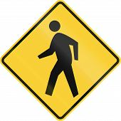 picture of pedestrian crossing  - US road warning sign  - JPG