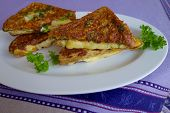 foto of french toast  - French toast with Gouda cheese and herb - JPG