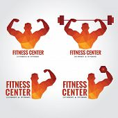 foto of strength  - Fitness center logo low poly art design  - JPG