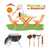 stock photo of grilled sausage  - Barbecue BBQ poster elements - JPG