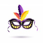 picture of venetian carnival  - Colorfull carnival mask with plumage - JPG