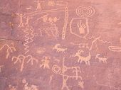 pic of valley fire  - Prehistoric rock paintings in the Valley of Fire Nevada USA - JPG