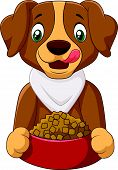 picture of sheltie  - Vector illustration of Hungry dog cartoon with dog food - JPG