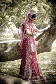 image of indian beautiful people  - Young beautiful Hindu Indian bride in traditional gown outdoors in garden