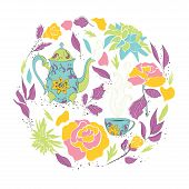 picture of teapot  - Card for tea party - JPG