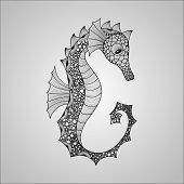 image of seahorse  - Vector Seahorse black on gradient background tattoo style - JPG