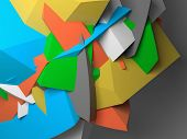 image of fragmentation  - Abstract colorful chaotic polygonal fragments on gray background - JPG