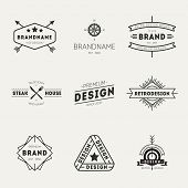 Retro vintage insignias or logotypes set. Vector design elements, business signs, logos, identity, labels, badges and objects pic.