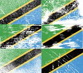 foto of civil war flags  - Flag of Tanzania with old texture - JPG