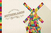 picture of windmills  - Travel netherlands famous landmark - JPG