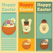 image of easter eggs bunny  - Happy easter cards illustration with easter eggs and easter bunny - JPG