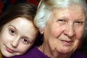 picture of granddaughters  - portrait of a grandmother and granddaughter close - JPG