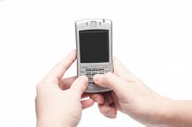 picture of qwerty  - smart phone with qwerty keyboard in hand isolated on white background - JPG