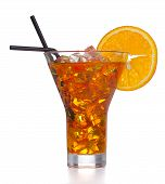 foto of iced-tea  - Fresh and cold ice tea with sliced orange isolated on white background - JPG