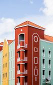 picture of curacao  - Colorful red yellow and green resort in Curacao - JPG
