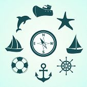 foto of life-boat  - Set of vector icons contains ships - JPG