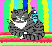 stock photo of laughable  - The illustration of cat with fish - JPG