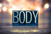 picture of carnal  - The word BODY written in vintage metal letterpress type on a soft backlit background - JPG