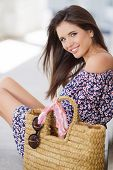 pic of cross-dress  - Young cheerful brunette model with long straight hair and brown eyes - JPG