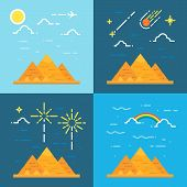 stock photo of the great pyramids  - Flat design 4 styles of pyramids of Giza Egypt illustration vector - JPG