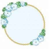 foto of geranium  - Vintage flower frame with geraniums and ellipse frame - JPG