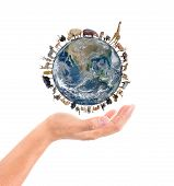 picture of eland  - animal stand around the world on the hand Element of this image are furnished by NASA - JPG