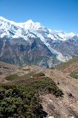 image of mountain chain  - The Himalaya mountain peaks covered with snow - JPG
