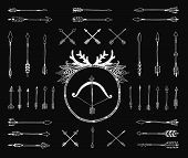foto of bow arrow  - Hand drawn tribal collection with indian arrows - JPG