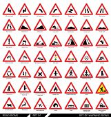 Постер, плакат: Set of road signs Collection of triangular warning traffic signs Signs of danger Vector illustrat