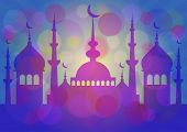 foto of eid al adha  - Blue card with mosque for greeting with beginning of fasting month Ramadan as well with Islamic holiday Eid al - JPG