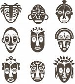 picture of african mask  - African masks set of icons - JPG