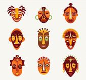 foto of african mask  - African masks set of icons - JPG