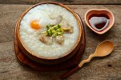 foto of porridge  - porridge with egg and liver traditional chinese food - JPG