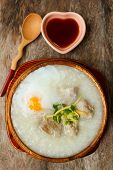 picture of porridge  - porridge with egg and liver traditional chinese food - JPG